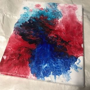 Red, white and blue acrylic Dutch Pour. Abstract.